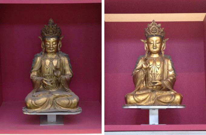 Bronze Buddha before (left) and after (right) cleaning