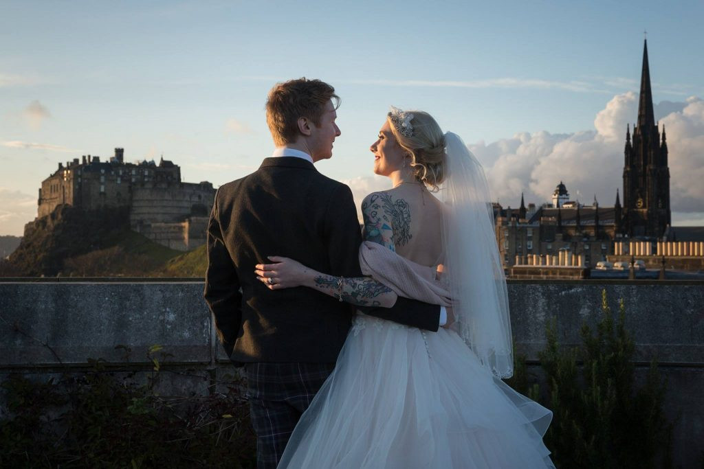 The roof terrace is the perfect place for romantic wedding photos. Image by Ryan McCann.