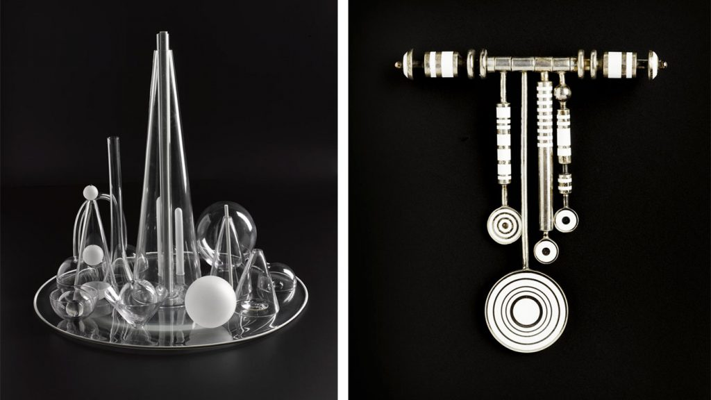 Left: 'Universe' fifteen part blown and lampworked glass sculpture. Designed by Wendy Ramshaw, London, 2007. K.2007.326. Right: Brooch of silver and white enamel. Designed by Wendy Ramshaw, London, 1972. A.1973.68 Both pieces are on display in the Making and Creating gallery at the National Museum of Scotland.