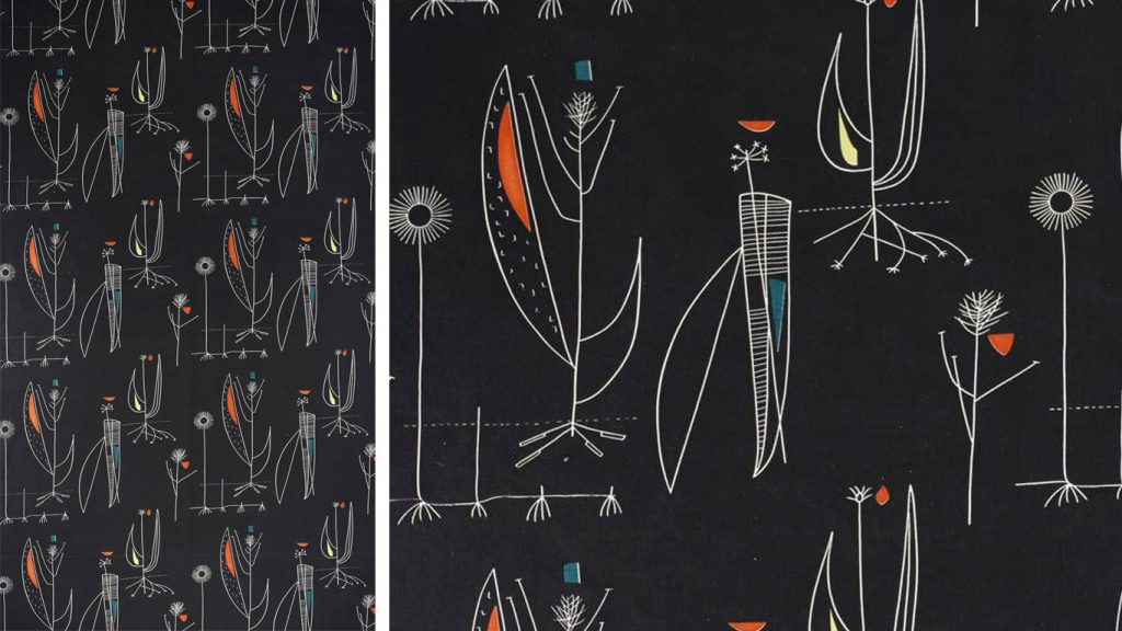 K.2014.19. Screen printed cotton fabric, Herb Antony. Designed by Lucienne Day, made by Heal Fabrics, British, 1956. On display in the Making and Creating gallery at the National Museum of Scotland.