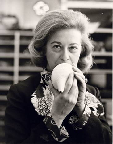 Jean Jenkins with a conch from her collection.
