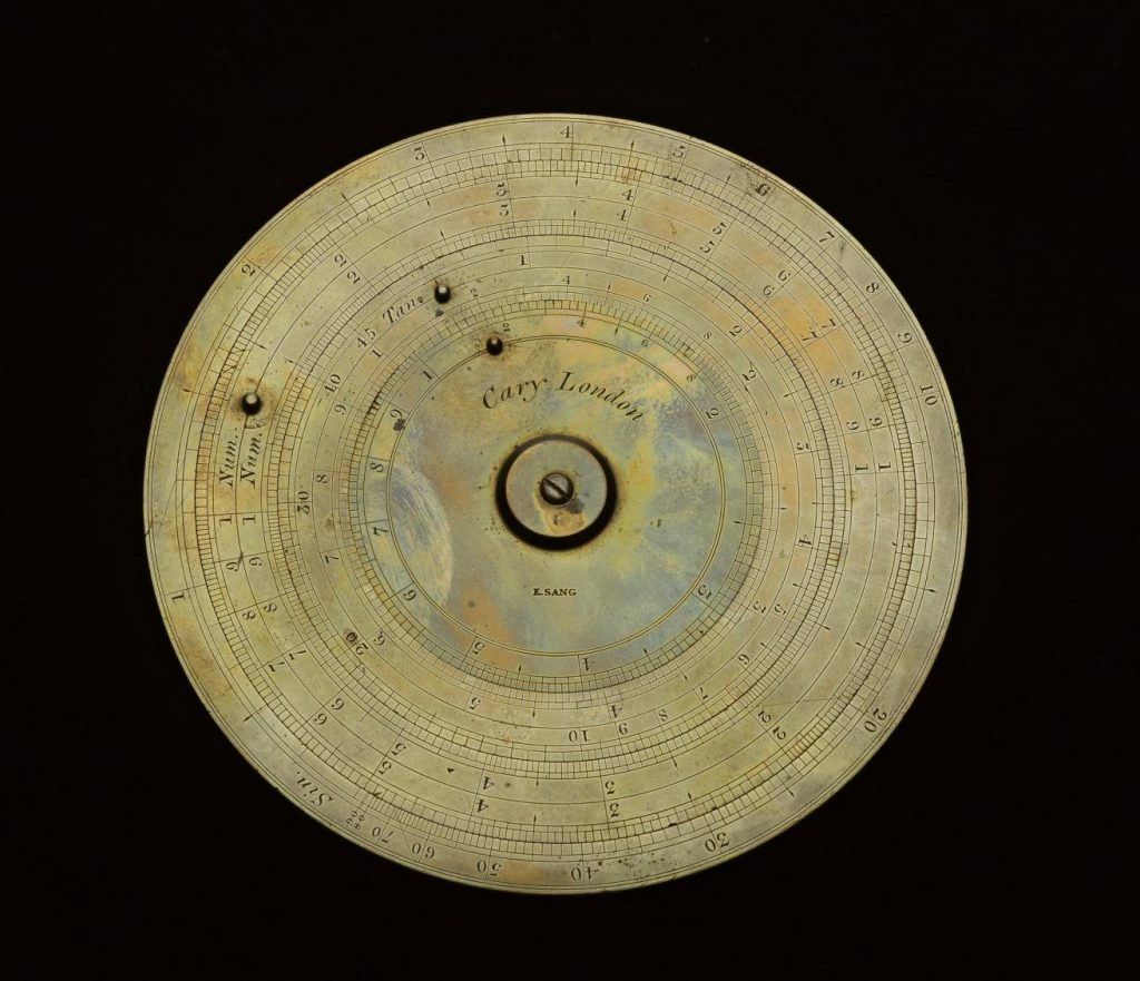 Circular slide rule owned by Edward Sang