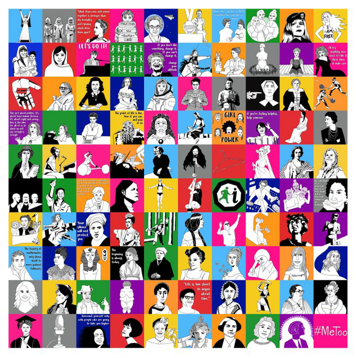 100 illustrations by Rosemary Cunningham for the #100daysofherstory challenge. © Rosemary Cunningham 2018. Illustration, etc.