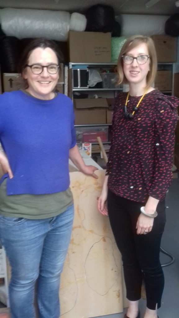 Emma Woffenden with Bryony Windsor, Head of Exhibitions, NCCD, at her studio in London Photo: Sarah Rothwell