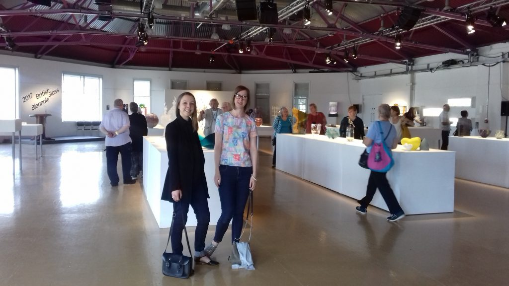 Curators Sarah Rothwell & Bryony Windsor at the 2017 British Glass Bienalle, Stourbridge. Photo: Sarah Rothwell
