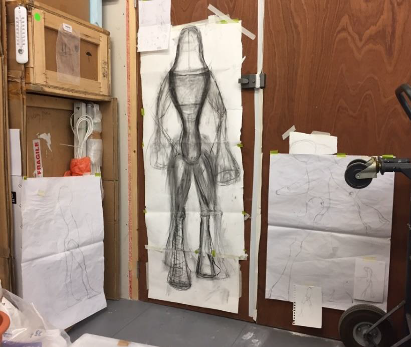 Some of Emma Woofenden drawing's for a new figuartive sculpture in her studio, London. Photo: Bryony Windsor