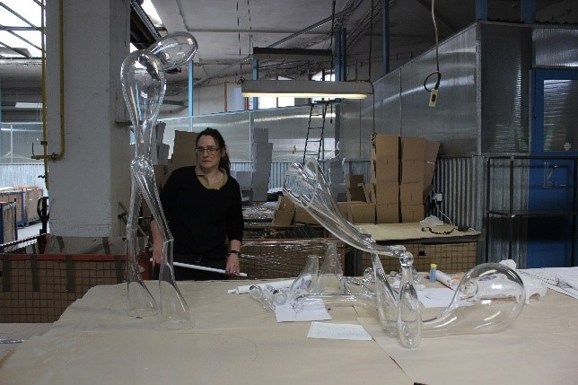 Emma Woffenden with her work at the RONA factory in Slovakia Photo: Maria Bang Espersen