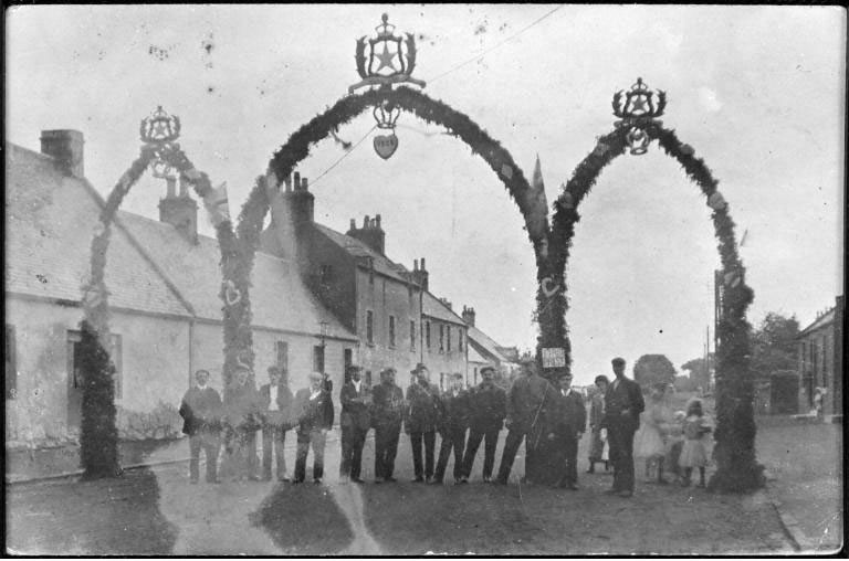 A prize-winning arch on the main street of Armadale during the Gala Day, West Lothian, 1909. From the Scottish Life Archive, 000-000-464-911-C.