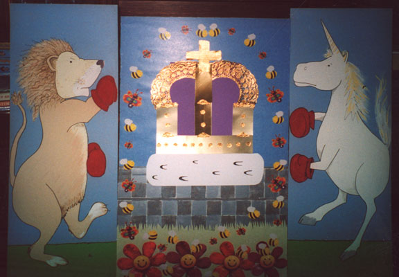 Painted hardboard panel, made to decorate the late Jenny Milligan's house by her daughter, Jennifer Bastin, for the Shotts Gala Day, 2004. From the Scottish Life Archive, SH.2005.62.1-6.