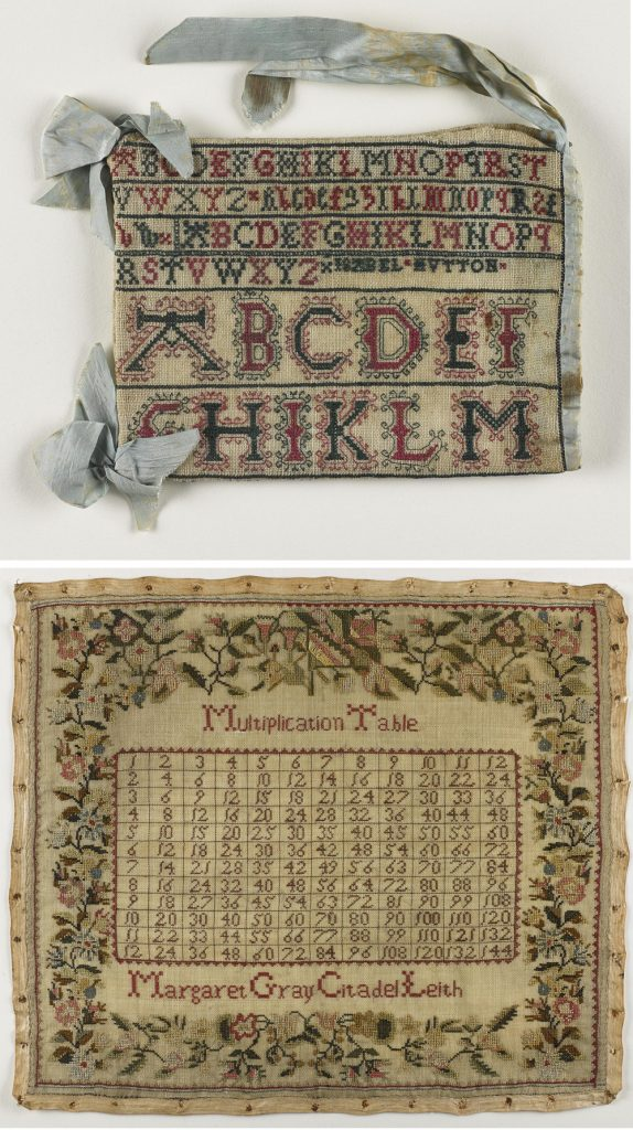 "Top: Alphabet sampler made into a drawstring bag, Isabel Hutton, c. 1730 – 1733. The lack of a ""J"" in alphabet samplers like this means that it can be dated to pre 1800. Bottom: Multiplication table sampler, Margaret Gray, mid-19th century."