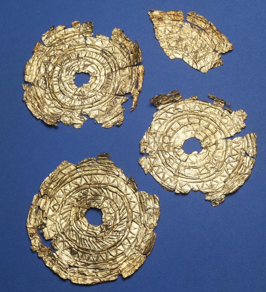 : Four gold discs were found with a burial at the Knowes of Trotty, Orkney