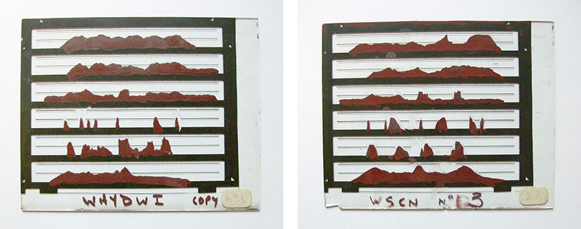 Glass slides painted with the six parameters to be fed into PAT to produce speech electronically. The messages say 'What have you done with it?' (left) and 'What sound comes next?'(right).
