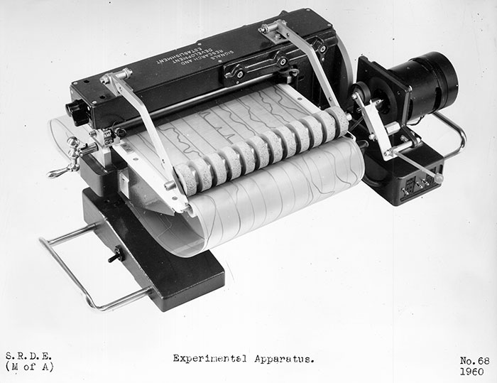 Roller mechanism to feed in speech control lines drawn in conductive ink. The operators also devised a cathode ray tube (CRT) inputting device which scanned the parameter tracks using a beam of light.