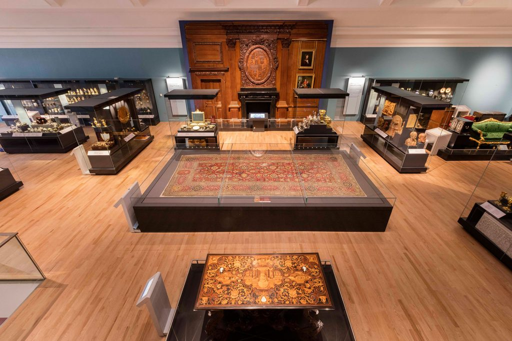 The carpet on display in the Art of Living gallery.