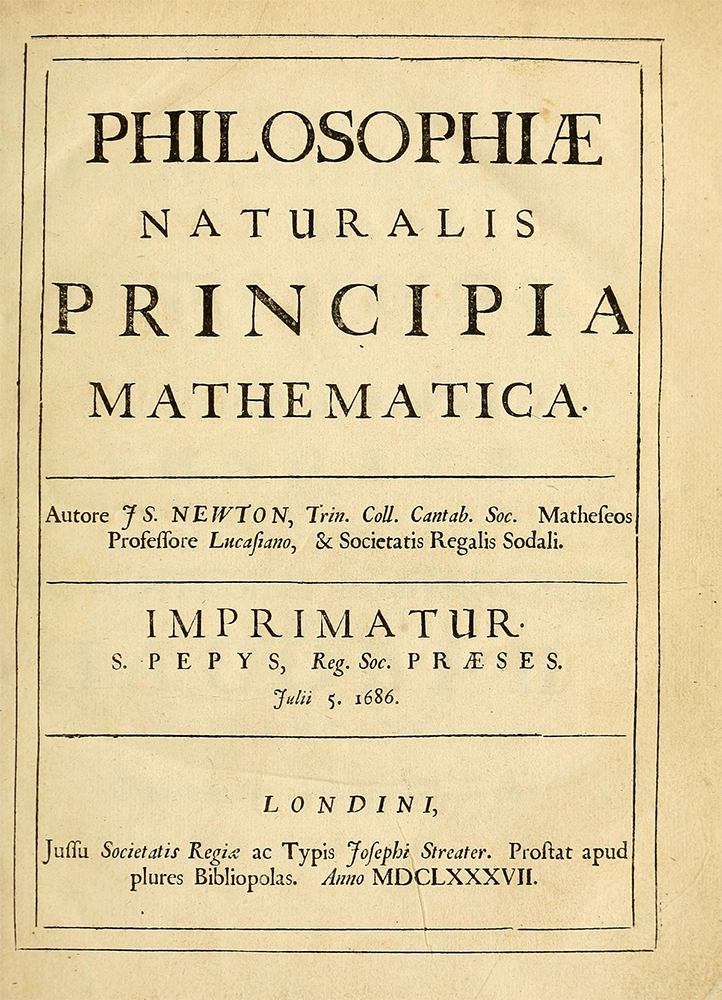 Title page of Principia, first edition (1686/1687)