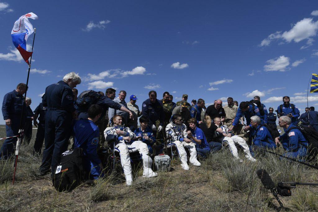 Tim Peake and crew after landing in the Soyuz TMA-19M © ESA Stephane Corvaja