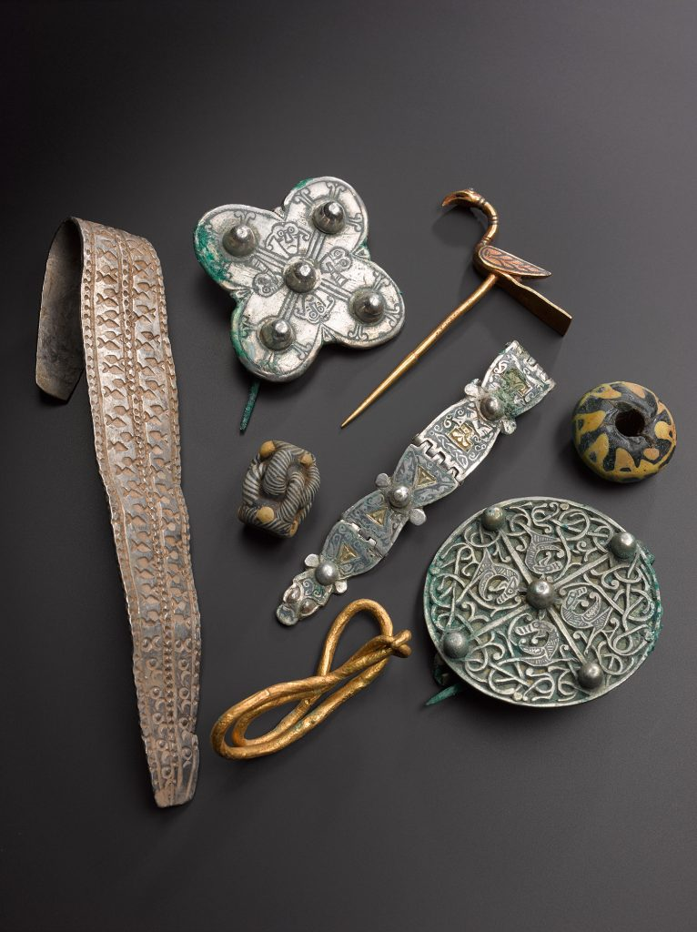 A selection of artefacts from the Galloway Hoard.