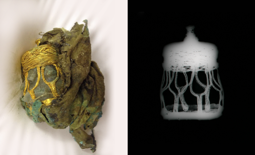 Gold-filigree covered rock crystal object in a triple-layered silk -lined pouch. The X-ray on the right reveals the outline of the object