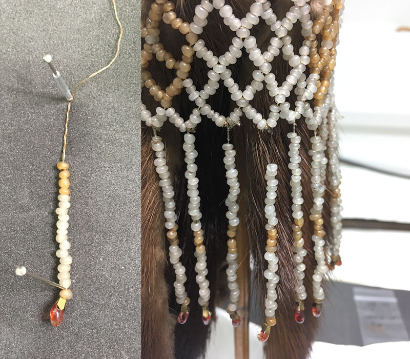 The loose bead thread with new cotton thread to strengthen it (left) and then the thread reattached (right).