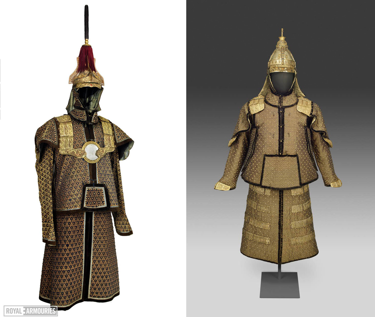Examples of Qing dynasty armour at the Royal Armouries (left, image (c) Royal Armouries ) and the British Museum (right, image CC BY-NC-SA 4.0).