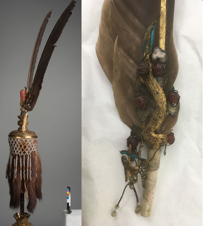The plume attachment for the helmet with close up of the feather and tian-tsui before conservation.