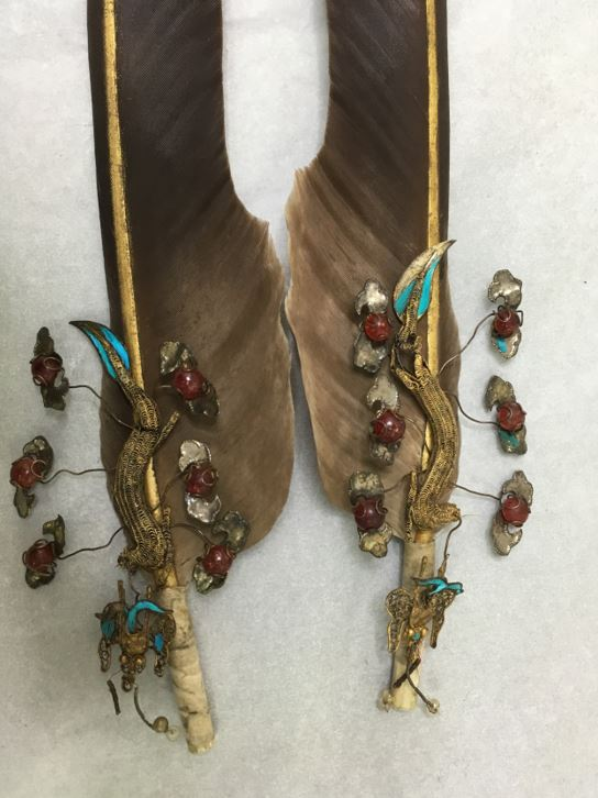 The eagle feather attachments after conservation.