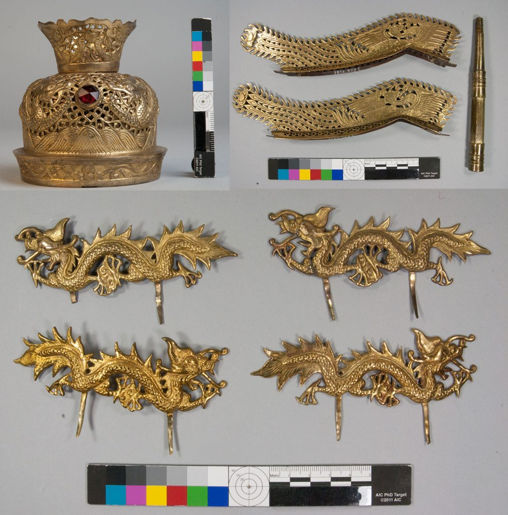 The gilt dome and attachments for the helmet before conservation.