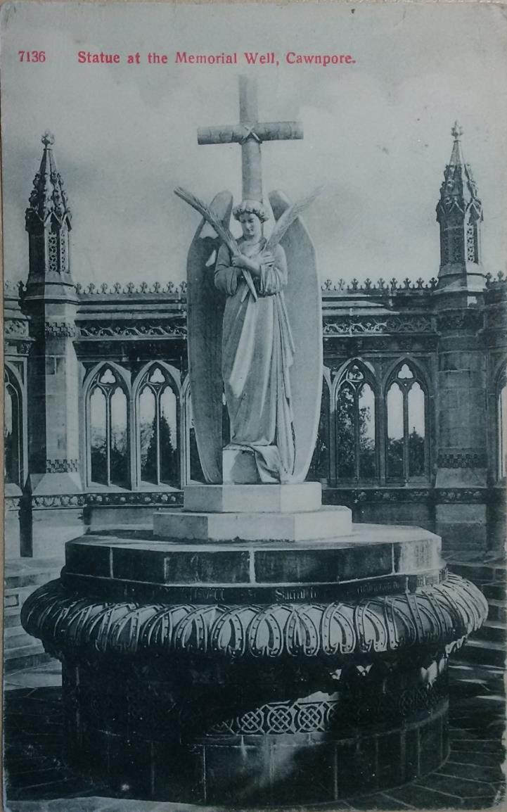 Postcard of the Statue at the Memorial Wall, Cawnpore, Private Collection