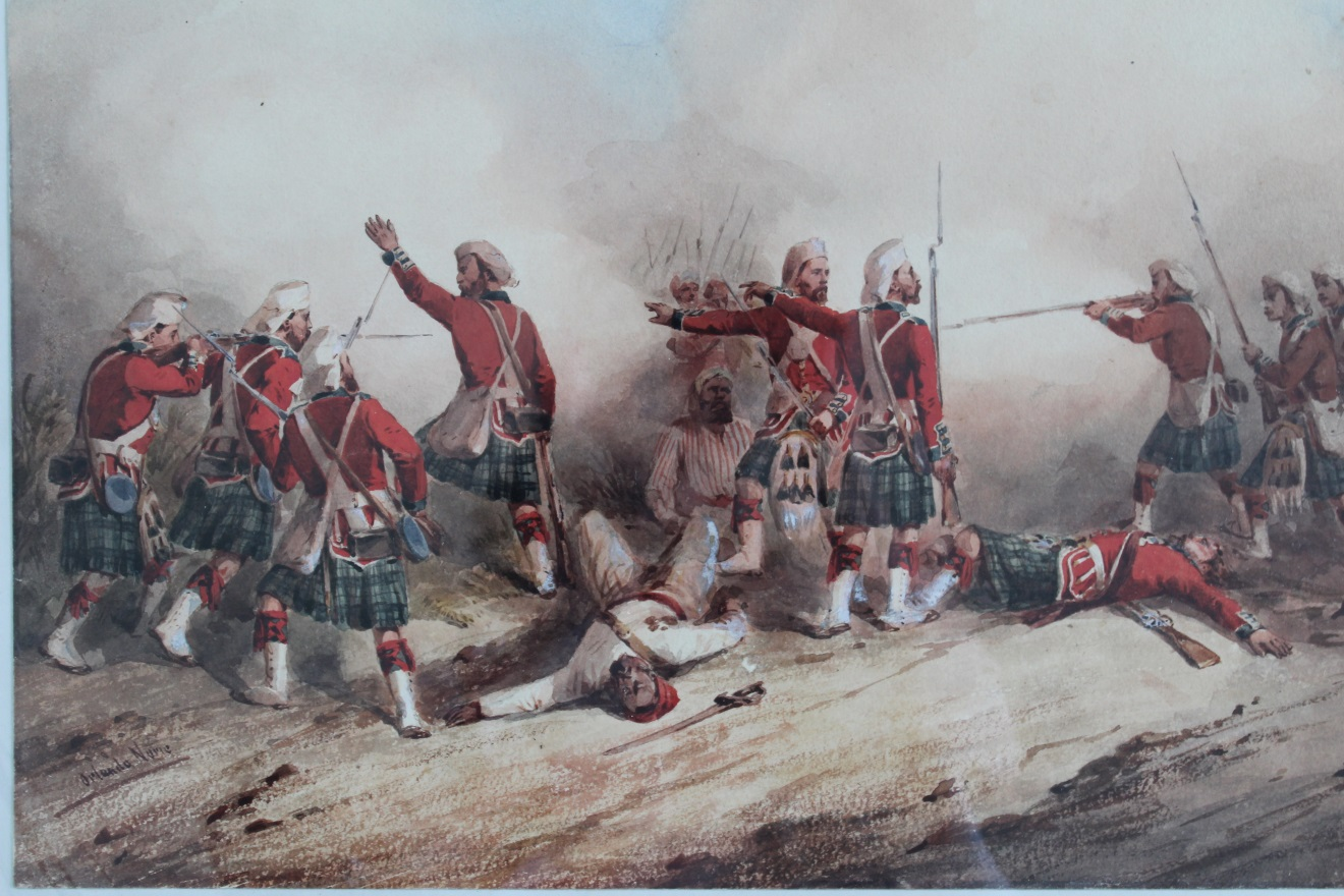 Watercolour by Orlando Norie of the 42nd Regiment of Foot during the Indian Mutiny, 1857.