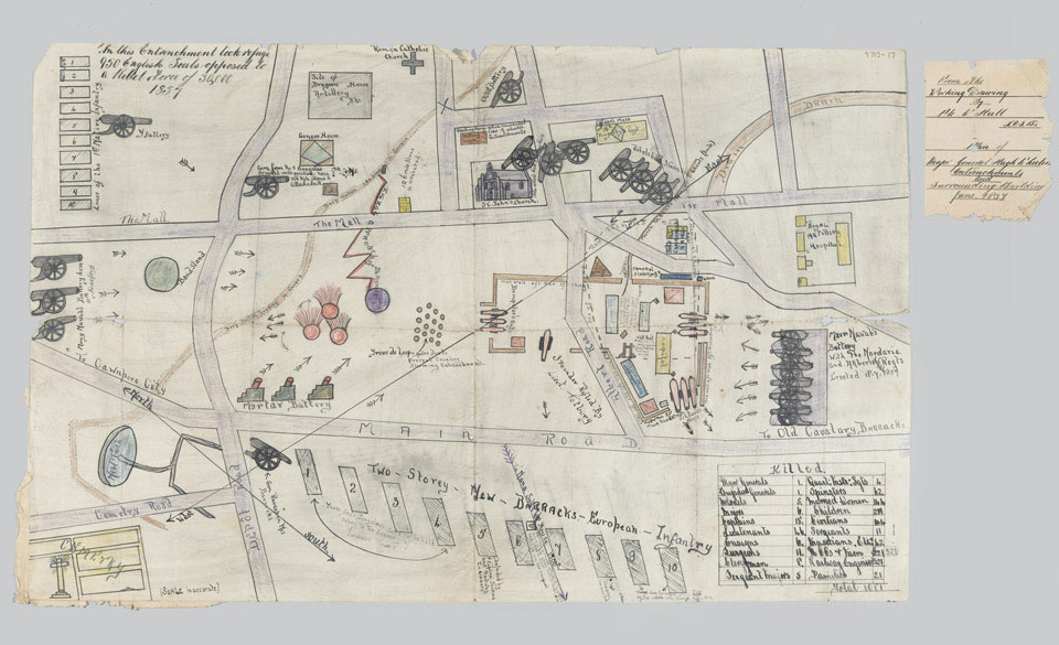 Plan of Major-General Hugh Wheeler's entrenchments and surrounding buildings at Cawnpore, June 1857, from the working drawing by Private W. Hull, King's Own Scottish Borderers, NAM. 1977-12-17-1 © National Army Museum