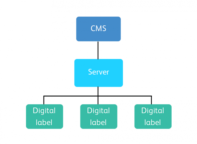 A diagram showing the relationship between the labels, server and content management system.