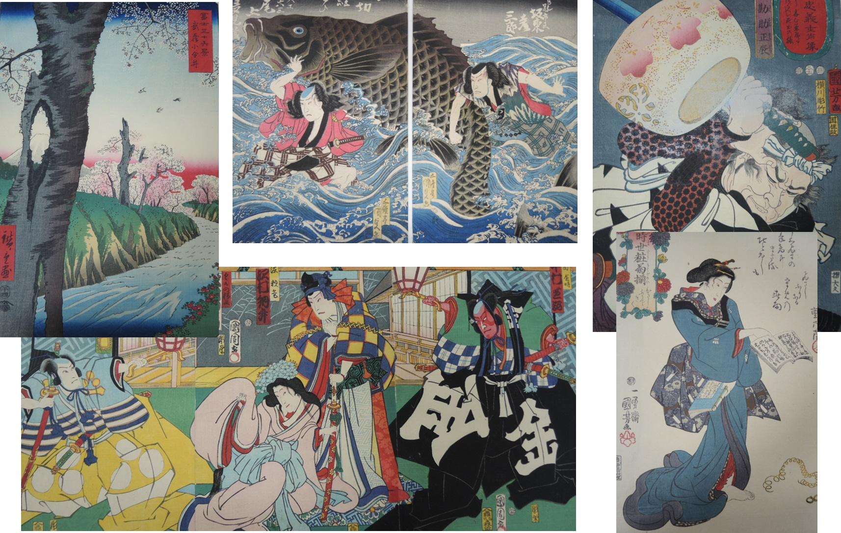 A selection of the single, diptych and triptych Japanese woodblock prints that are to go on display in the new East Asia Gallery.