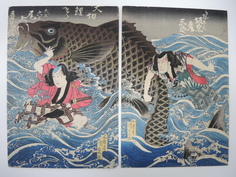Japanese woodblock diptych, Utagawa Kunisada (1830-1835)