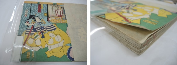 The Albertina Kompress enzyme poisoned along the left edge where the print is adhered in the album (left). After approx. 15 minutes, the print can be carefully separated (right)