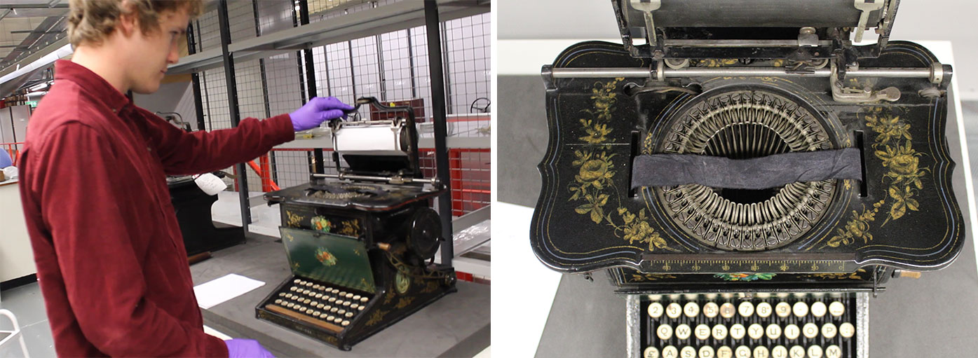 Lifting the platen on the typewriter (left); circular arrangement of the type-bars, with the ribbon in place (right)