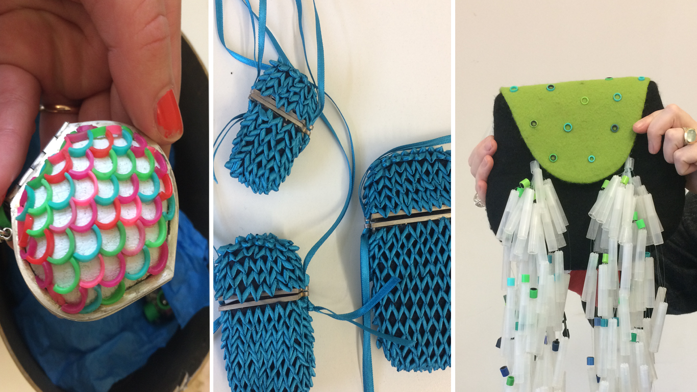 A few examples of Laura's tactile creations that were passed around: a colourful rubber trinket, ribbon purses woven using basketry techniques and a felt sporran with pen lid tassels