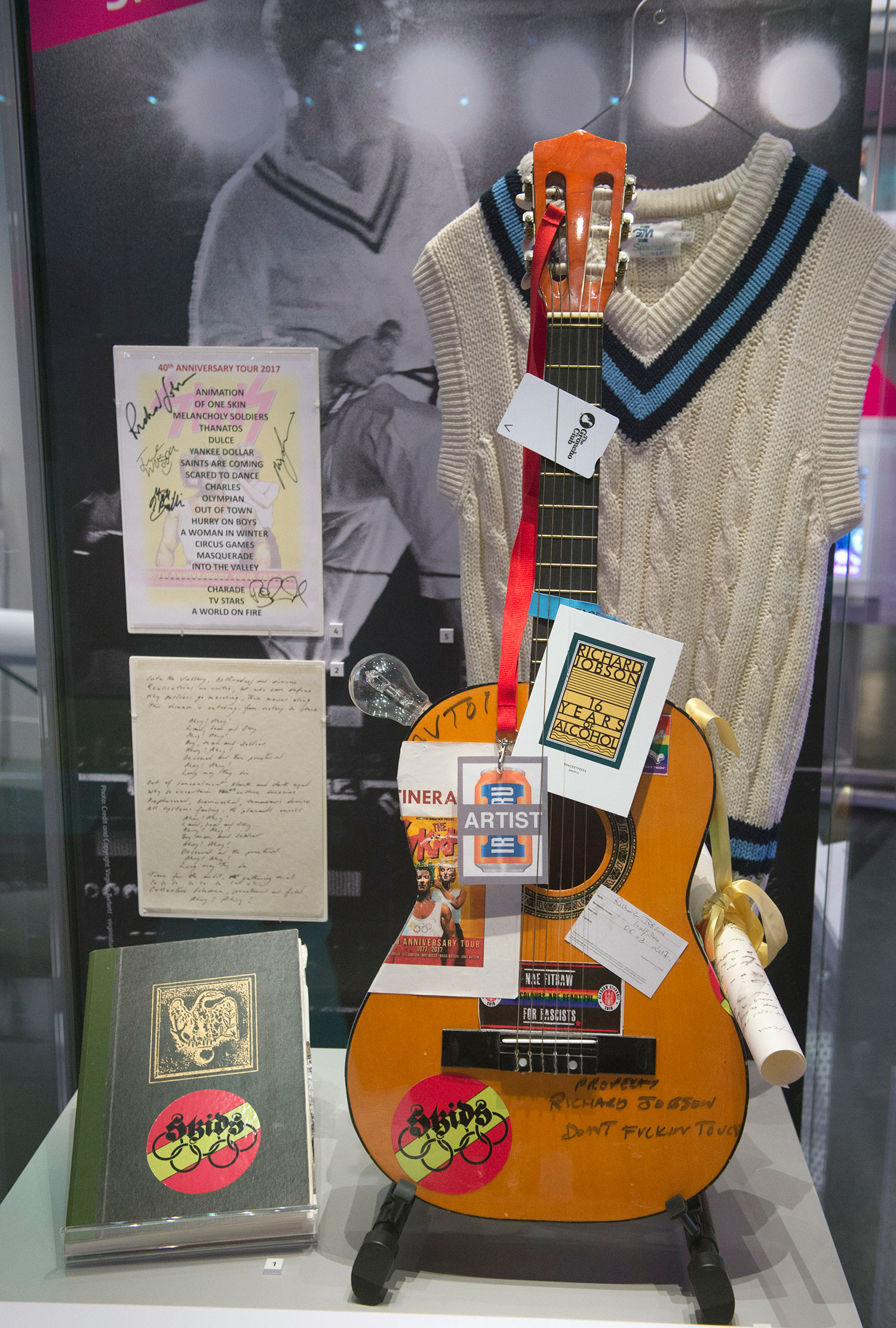 Items on loan from the Skids in the 'New Waves' area of the Rip It Up exhibition.