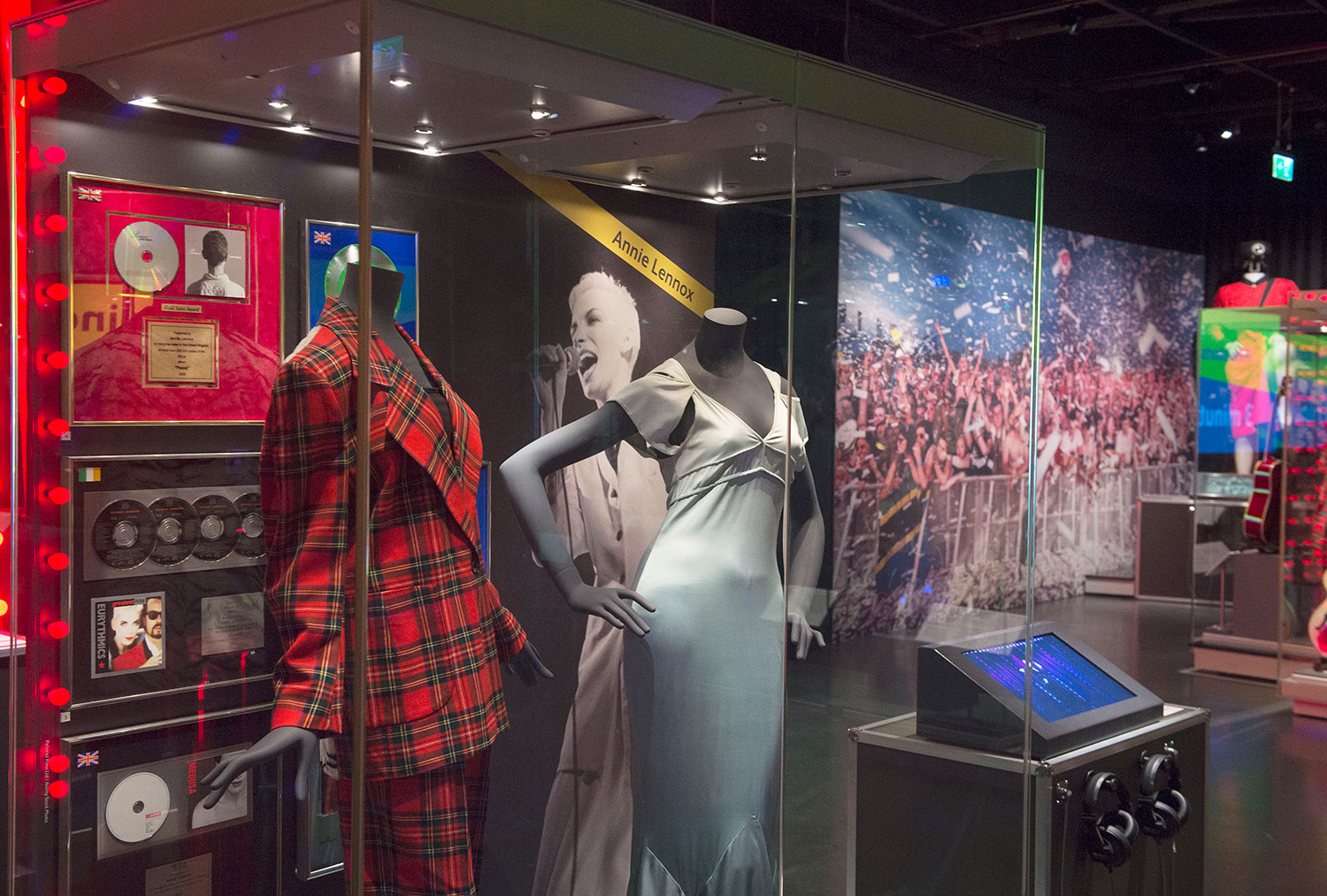 Objects on loan from Annie Lennox in the 'Going Global' area of the Rip It Up exhibition.