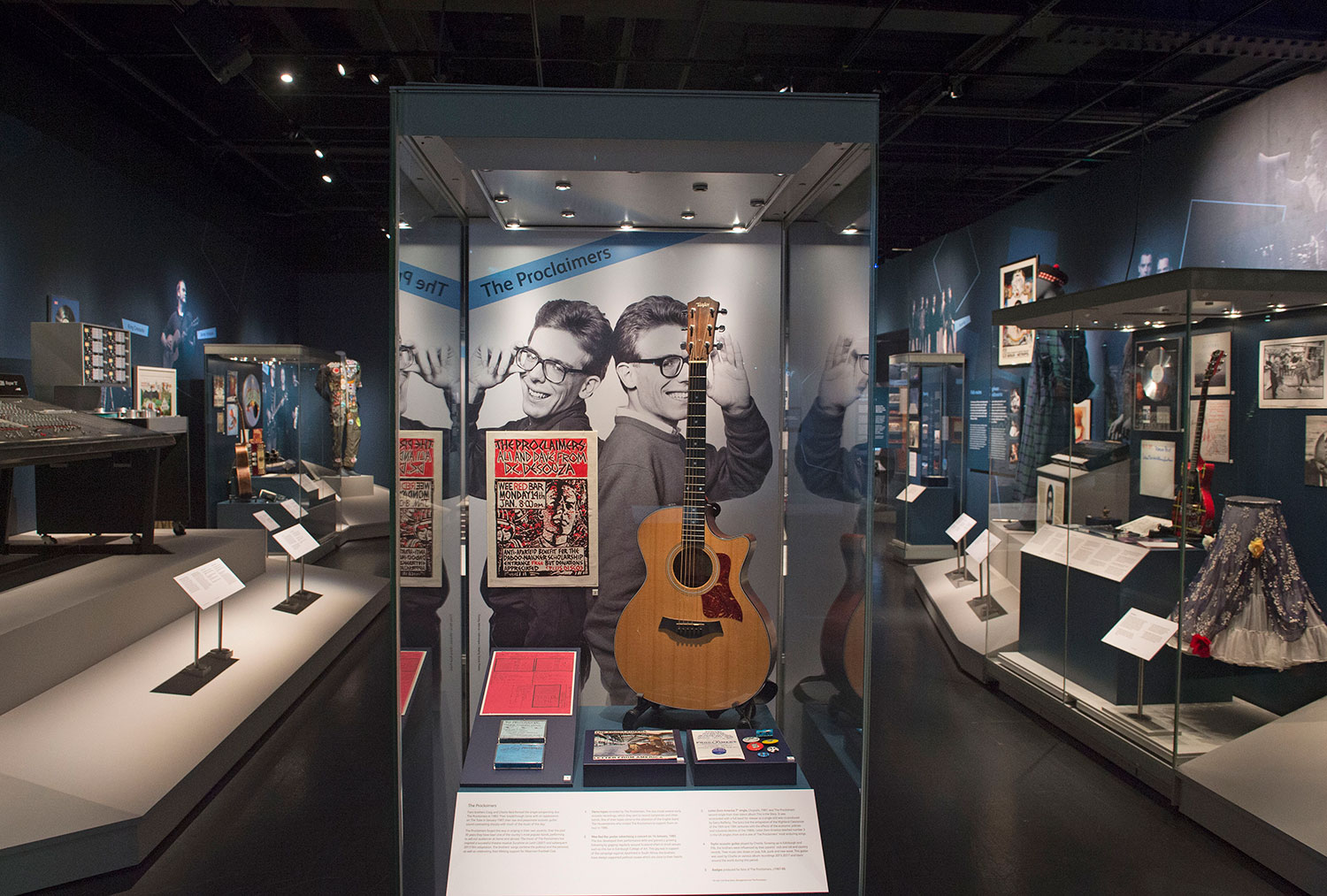Objects on loan from the Proclaimers in the 'Scottish Voices' area of the Rip It Up exhibition.Photo © Neil Hanna.