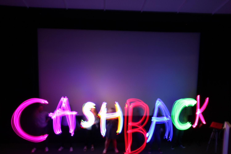 "Light photography spelling ""Cashback"""