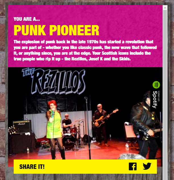 The results page for the 'Punk Pioneer' persona.