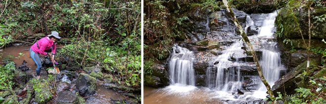 Left: Me sampling stones in current. Right: a beautiful waterfall close to camp that is sacred to the villages nearby. No sampling is allowed on Tuesdays as the waterfall is used for religious activities.