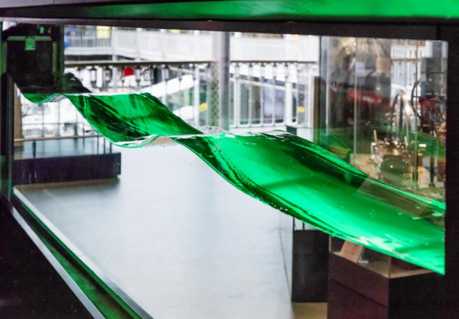 An interactive machine in the gallery which creates waves