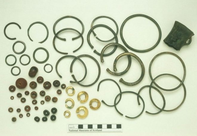 The Balmashanner hoard containing bronze, amber and gold objects.