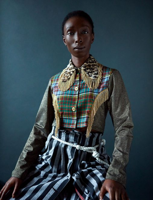 Portrait of Eunice by Ioannis Koussertari, with styling by Kim Howells at Rankin's Hunger Magazine, and hair was by Terry Barber, with creative direction from Olumide Gallery.