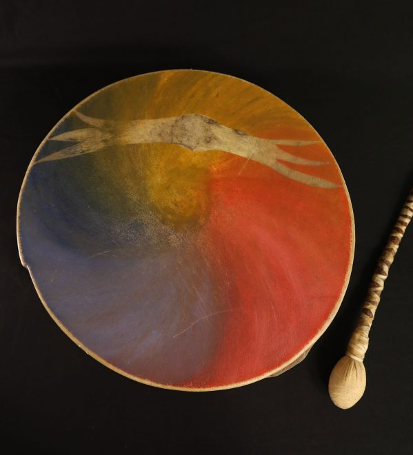 Drum donated by Alastair McIntosh, with a soaring eagle is etched on the skin.