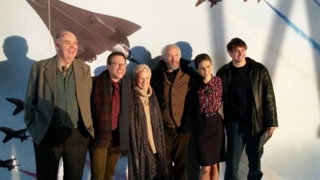 Hollywood stars line up during the filming of The Wife at National Museum of Flight in 2016.