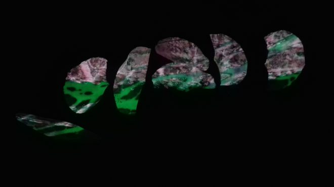The Glass Cyphers, 2018 Glass powder, projection mapped video, sound installation Photo: Sarah Rothwell
