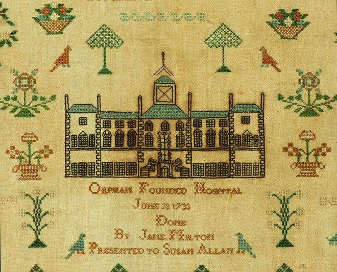 The building represented in Jane's sampler was close to what is now Waverley Station. It was occupied until 1833 when a decision was made to move out of the city centre to preserve the health of the children.