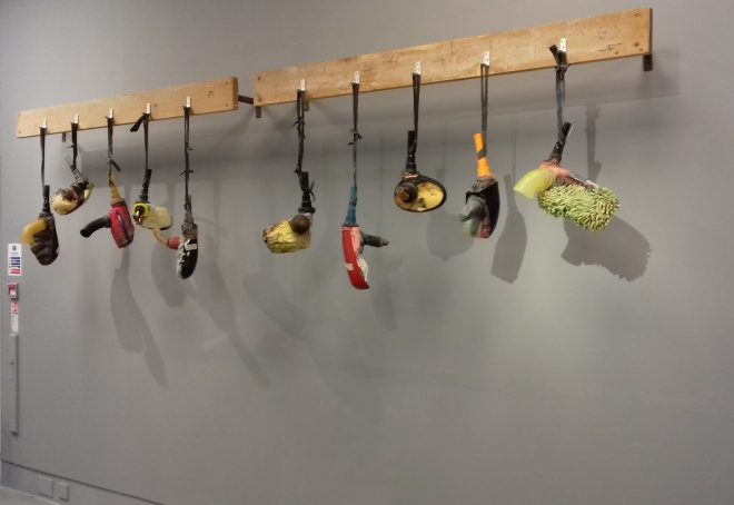 Just after we finished hanging Drill Bits, the pieces are composed of cast and blown glass, jesmonite, foam, rubber and found objects. Photo: Sarah Rothwell